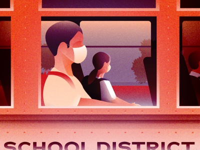 Monday morning scenery - Boarding a school bus with a mask social distance mask covid19 editorial illustration illustration art illustration