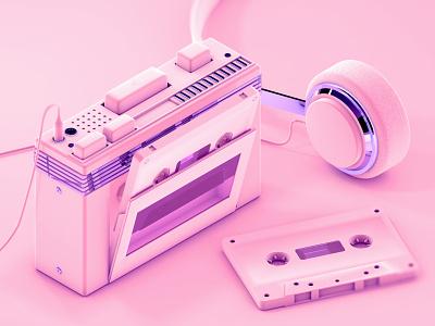 Cassette Player - C4D exercising retro vintage cassette player 90s 3d illustration cinema 4d