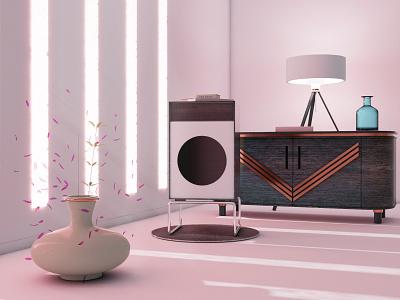 Living room exercise - Cinema 4D 1960s retro vintage braun speaker art deco interior cinema 4d