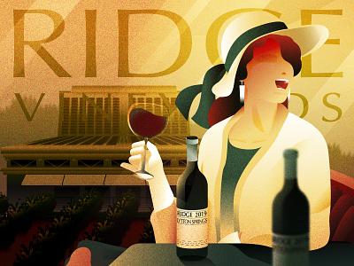 My favorite winery - Ridge Vineyards art deco vintage style california wine wine illustration