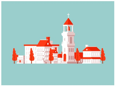 Small town illustration for web project town footer web illustration