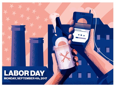 Labor day propaganda smartphone beer labor day
