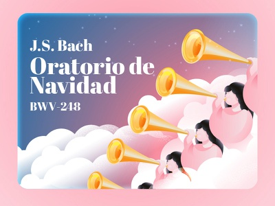 Christmas Oratorio Card bach trumpet angels horn christmas