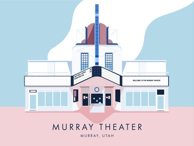 The Murray Theater, Utah historic place poster theater illustration art deco architecture