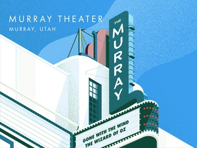 Murray Theater, Utah architecture poster architecture historic place theater poster illustration art deco isometric