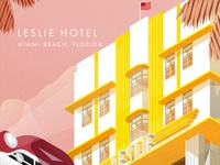 Sunset of the Leslie Hotel, Miami Beach.