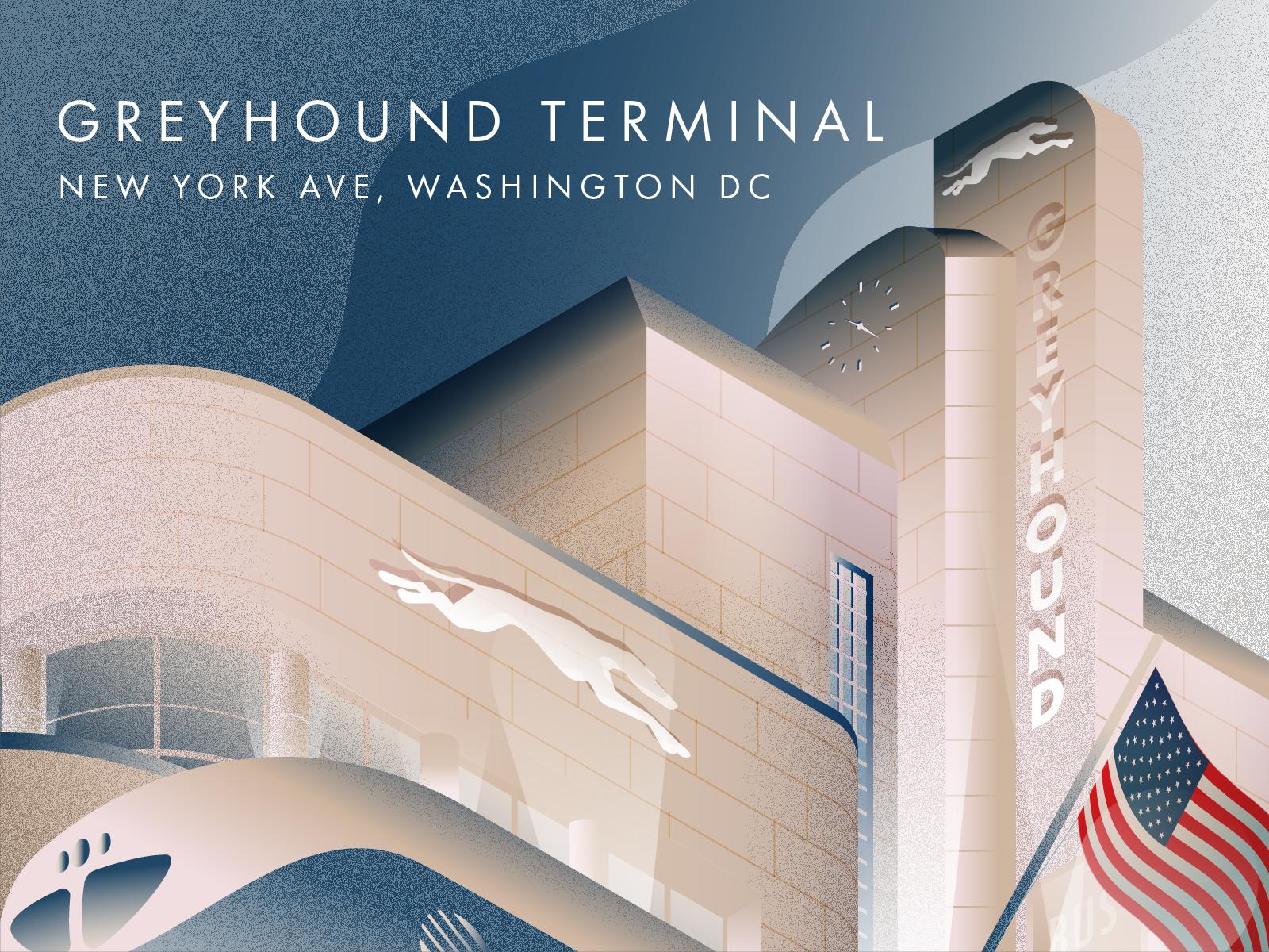 Old Greyhound Terminal - Washington D.C. greyhound isometric art isometric illustration illustration architecture art deco