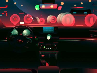 Driving at night moment lexus car dashboard car interior car impression light night mood illustration