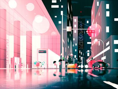 Rainy Night Cityscape - mood illustration