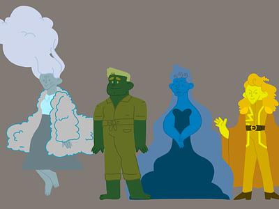 monochromatic character set vector art illustration monochrome character design