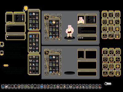 character menu icons set menu design videogame vector pixel design illustration