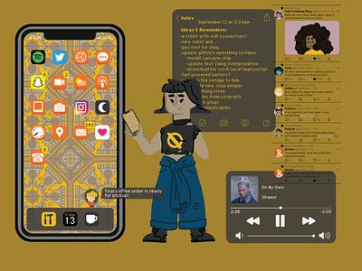 Keiko's phone apps technology phone vector illustration design