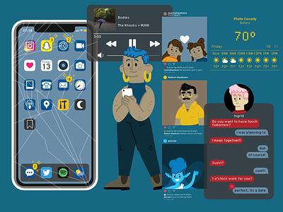 Ximena's phone apps technology phone vector illustration design