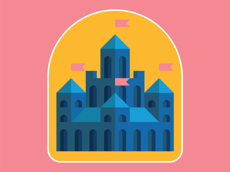 castle badge building fantasy yellow blue pink badge logo branding environment castle vector design illustration