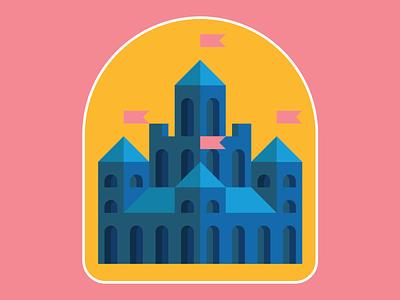 castle badge building fantasy yellow blue pink badge logo branding environment castle vector design illustration