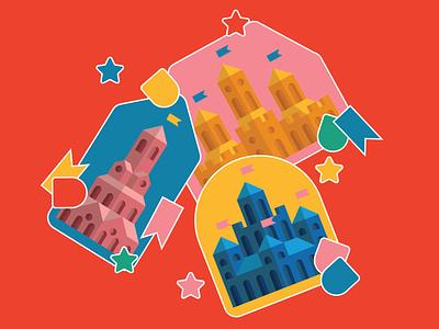 castle stickers architecture castle collection sticker design fantasy vector design illustration