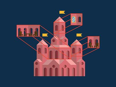 castle cross sections design vector illustration cross section exterior interior fantasy