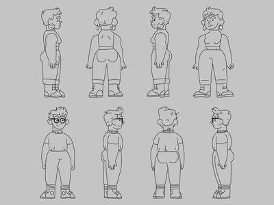 character turnarounds anatomy turnarounds character design vector illustration