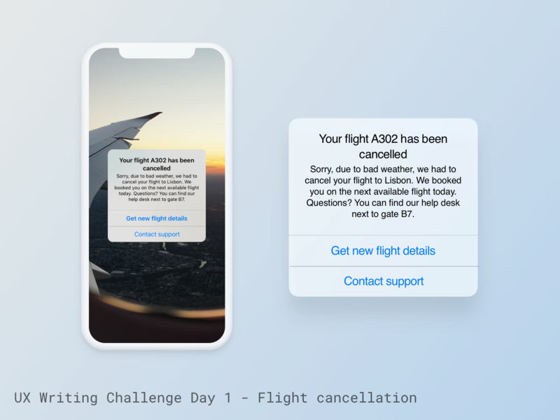 UX Writing Challenge - Day 1 flight cancellation flight bad news error message ux writing