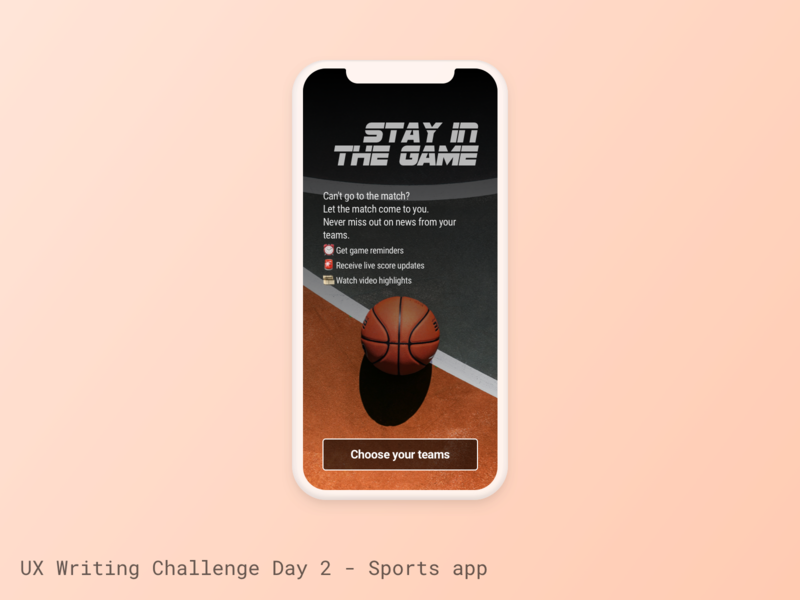 UX Writing Challenge - Day 2 sports ux writing challenge ux writing