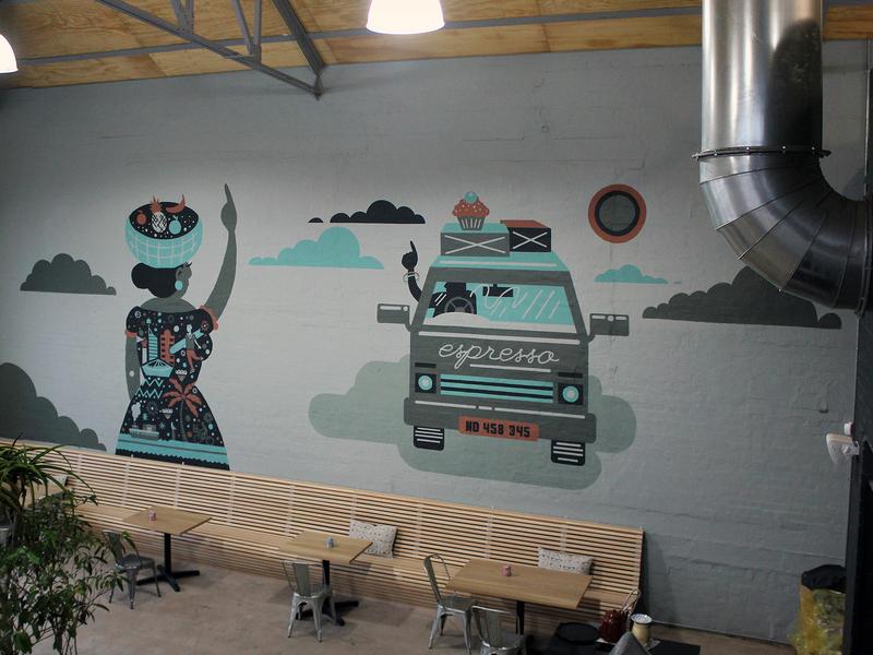 Boiler Room Mural charecter typography design africa vector interior design african patterns mural illustration