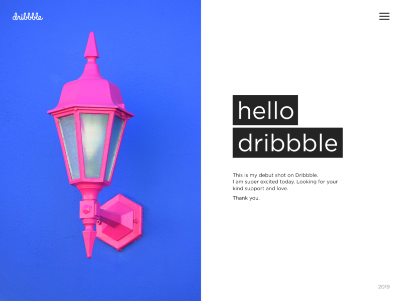 Hello dribbble ankapit lamp web deisgn website concept website pink blue invites hello dribbble first shot
