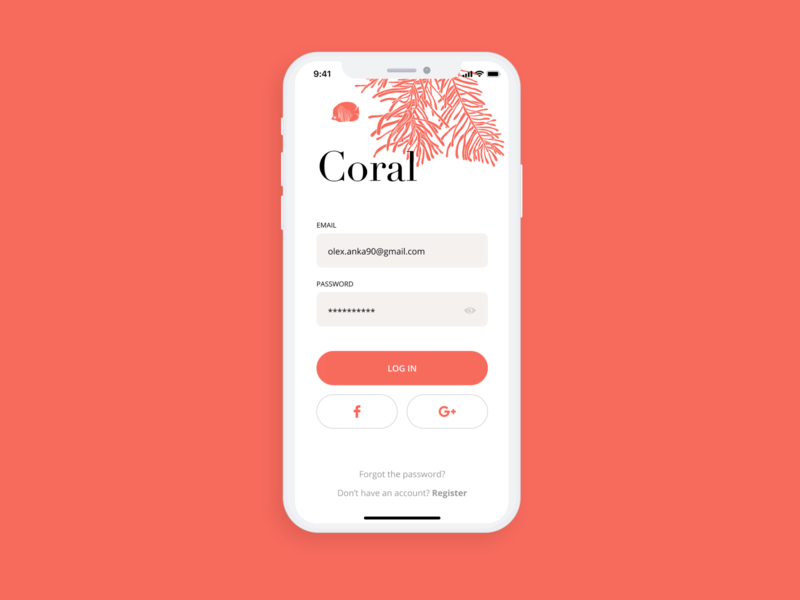 Log in sign up screen sign up form sign up mobile app design mobile app mobile ui design dailyui daily challange ankapit coral reef coral log in