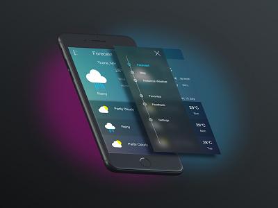 Weather App Design weather app menu hamburger navigation weather