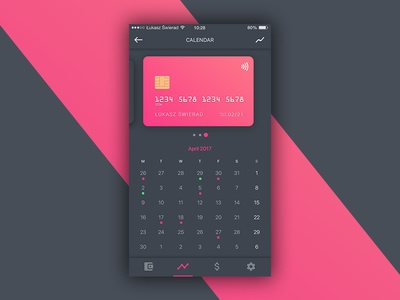 Wallet/Credit Cards - Calendar calendar wallet ux ui payment interactions credit card banking app