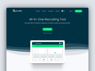 Recruitify - Landing Page layout recruitment recruiting ats website design landing web ux ui landing design landing page