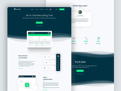 Recruitify - Landing Page landing page landing design ui ux web landing design website ats recruiting recruitment layout