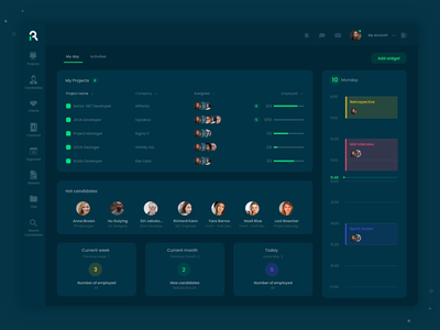 Recruiting dashboard color transition recruiting recruitment animation motion design motion color change dark background dark theme dark app dashboard design dark light dashboard ats web ux ui