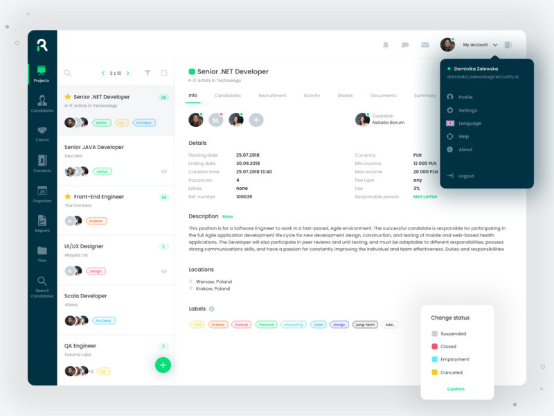 Projects view app projects project recruiting recruitment ats application web ux ui