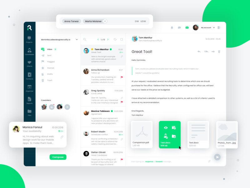 Email client dashboard illustration app projects project recruiting recruitment ats application web ux ui mail mail box mail client mail app attachment attachments