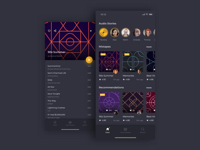 Mixtape app iphone x app mobile app music app playlist player ui mixing mixtape player design app ux ui