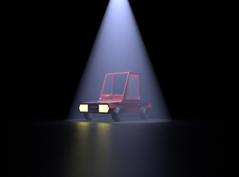 3D Red Toy Car under Spot light