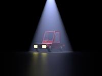 3D Red Toy Car under Spot light