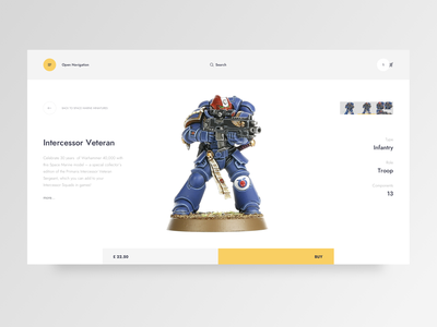 WH_40_1211 minimal ux ui warhammer page product ecommerce design clean