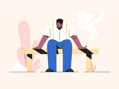Feel yourself sad dribbble nature brand vivekraj ui ux branding vector motion graphics illustration art 2019 feel feeling alone smoke character boy