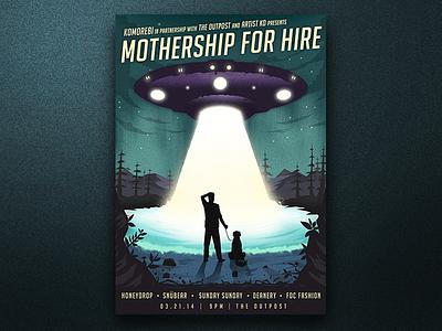Mothership for Hire dog woods poster illustration aliens