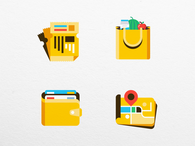 Yellow Icon Set map coupon wallet grocery icon