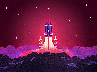 Mission to Mars illustration space rocket