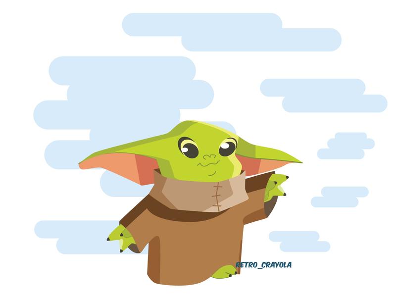 Baby Yoda graphic design sketch illustrator character design adobe illustration disney madelorian starwar yoda