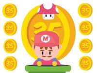 Mario: 35 Years anniversary super mario bros mario bros super mario nintendo gaming illustrator character design graphic design adobe illustrator adobe illustration