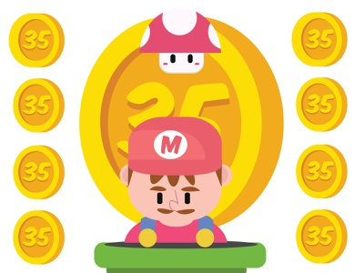 Mario: 35 Years anniversary super mario bros mario bros super mario nintendo gaming illustrator character design graphic design adobe illustrator adobe illustration