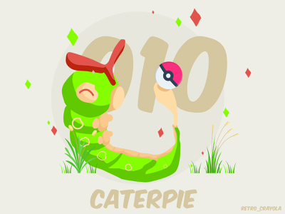Caterpie caterpie 90s pokemon gaming nintendo character design adobe illustrator adobe illustration
