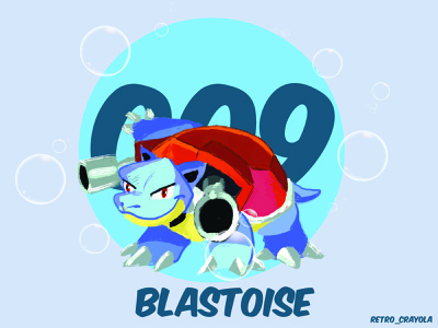 Blastoise 90s nintendo pokemon illustrator character design graphic design adobe illustrator adobe illustration