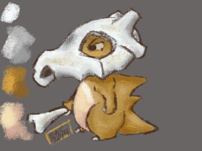 Cubone adobe photoshop character design 90s gaming nintendo pocket monsters pokemon