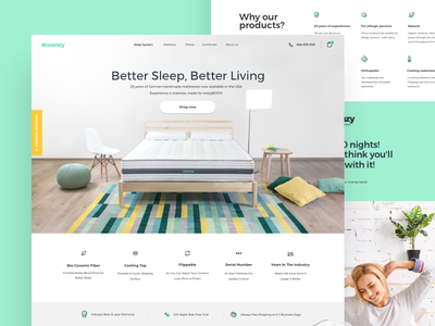 Mattress E-commerce white green store pillow mattress eshop sketch interiordesign interior colorful bedroom bed webdesign branding illustration shopify ecommerce design web