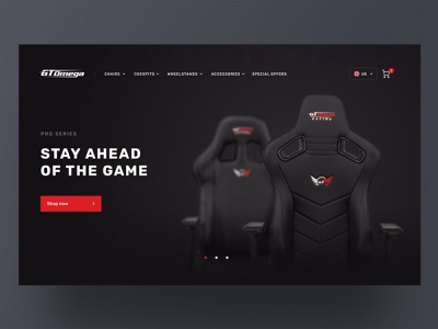 GT- Omega work gaming chairs red black web eshop branding shopify ecommerce webdesign design